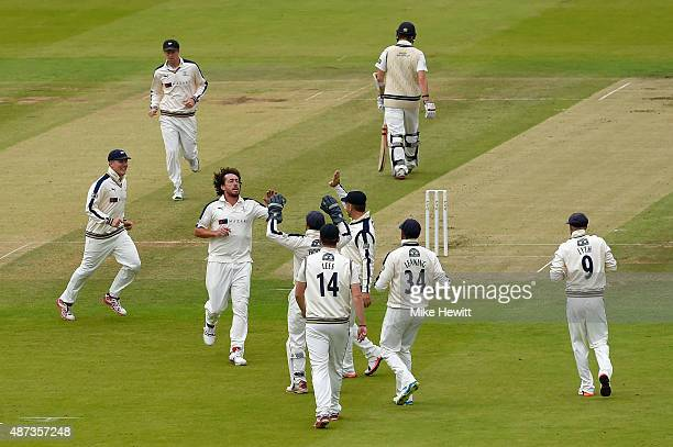 Ryan Sidebottom of Yorkshire celebrates the wicket of Stephen Eskinazi of Middlesex caught by Adam Lyth at second slip during the LV County...