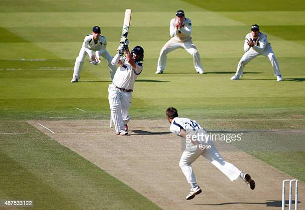 Ryan Sidebottom of Yorkshire hits out during the LV County Championship between Middlesex and Yorkshire at Lord's Cricket Ground on September 10 2015...