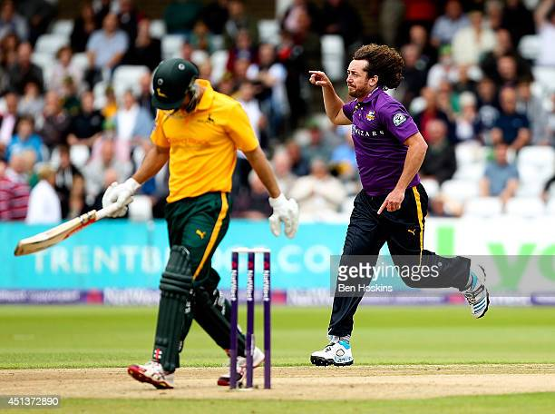 Ryan Sidebottom of Yorkshire Phil Jaques of Nottinghamshire during the Natwest T20 Blast match between Nottinghamshire Outlaws and Yorkshire Vikings...