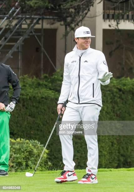 Ryan Smith has a little fun at the 1st tee with the gallery during the second round of the ATT Pebble Beach ProAm in Pebble Beach CA on Friday...
