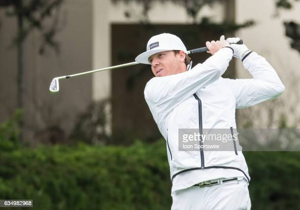Ryan Smith shows his form at the 1st tee off during the second round of the ATT Pebble Beach ProAm in Pebble Beach CA on Friday February 10 2017