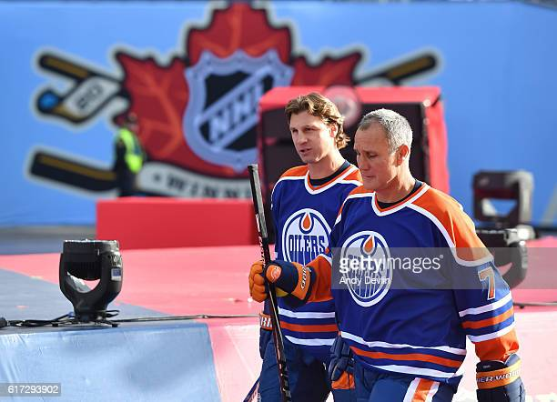 Ryan Smyth and Paul Coffey of the Edmonton Oilers alumni take to the ice in advance of the 2016 Tim Hortons NHL Heritage Classic alumni game at...