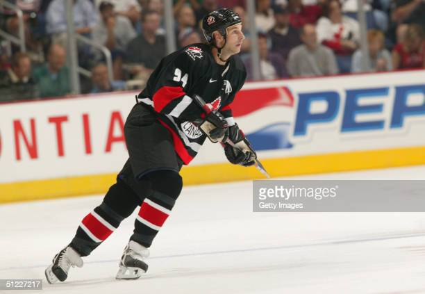 Ryan Smyth of Team Canada skates against team USA during an exhibition game in the World Cup of Hockey on August 23 2004 at Nationwide Arena in...