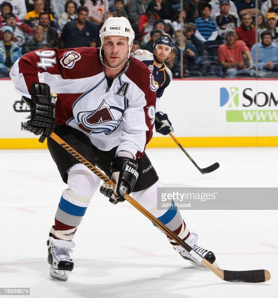 Ryan Smyth of the Colorado Avalanche skates against the Nashville Predators on December 13 2007 at the Sommet Center in Nashville Tennessee