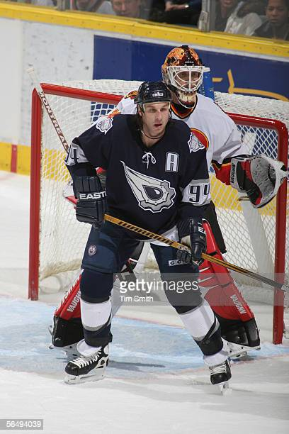 Ryan Smyth of the Edmonton Oilers blocks goaltender Miikka Kiprusoff of the Calgary Flames during the NHL game at Rexall Place December 19 2005 in...