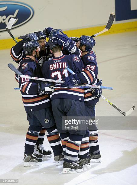 Ryan Smyth of the Edmonton Oilers celebrates scoring the Oilers' second goal with teammates over the Mighty Ducks of Anaheim during the second period...