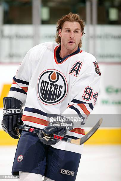 Ryan Smyth of the Edmonton Oilers prior to the game against the Colorado Avalanche on October 25, 2005 at Pepsi Center in Denver, Colorado.