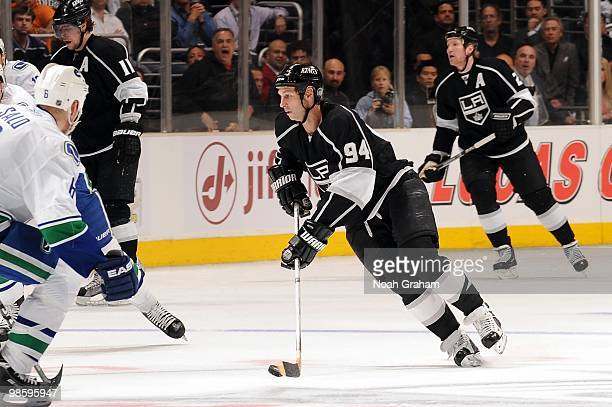 Ryan Smyth of the Los Angeles Kings skates with the puck against the Vancouver Canucks in Game Three of the Western Conference Quarterfinals during...
