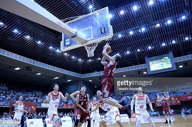 Ryan Spangler of the Kawasaki Brave Thunders goes up for a shoot during the B League match between Toshiba Kawasaki Brave Thunders and SANEN...