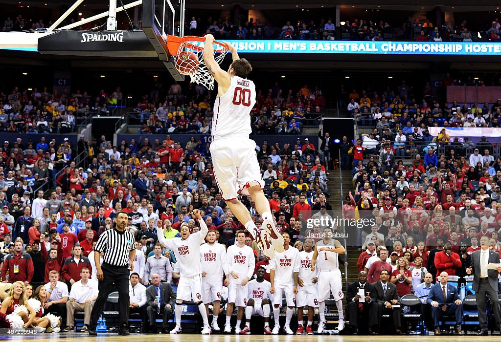 Ryan Spangler #00 of the Oklahoma Sooners dunks against the Dayton Flyers in the second half during the third round of the 2015 NCAA Men's Basketball Tournament at Nationwide Arena on March 22, 2015 in Columbus, Ohio.