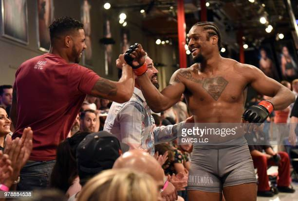 Ryan Spann celebrates after his submission victory over Emiliano Sordi of Argentina in their light heavyweight bout during Dana White's Tuesday Night...