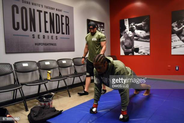 Ryan Spann warms up prior to his light heavyweight bout against Emiliano Sordi during Dana White's Tuesday Night Contender Series at the TUF Gym on...