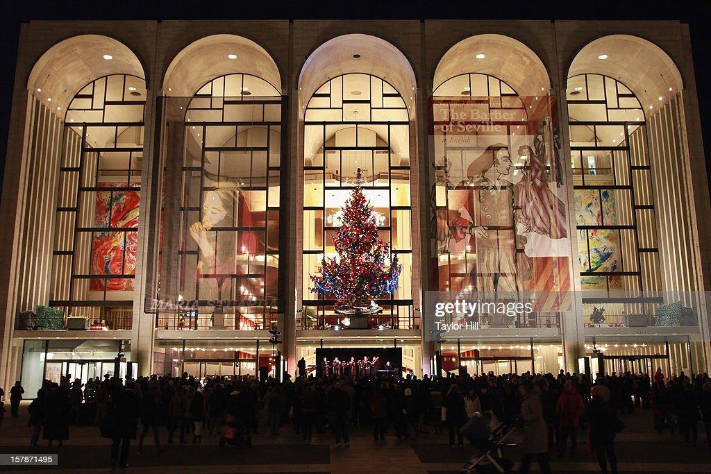 Ryan Speedo Green, Renée Tatum, and Andrew Stenson perform a selection of carols at The Metropolitan Opera Tree Lighting Ceremony at The Metropolitan Opera House on December 6, 2012 in New York City.