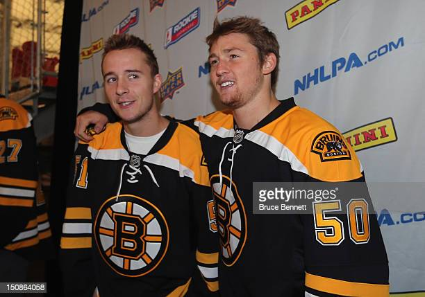 Ryan Spooner and Jared Knight of the Boston Bruins clown around at the 2012 NHLPA rookie showcase at the MasterCard Centre on August 28 2012 in...