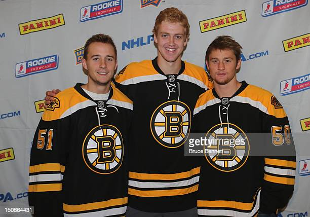 Ryan Spooner Dougie Hamilton and Jared Knight of the Boston Bruins meet with the media at the 2012 NHLPA rookie showcase at the MasterCard Centre on...