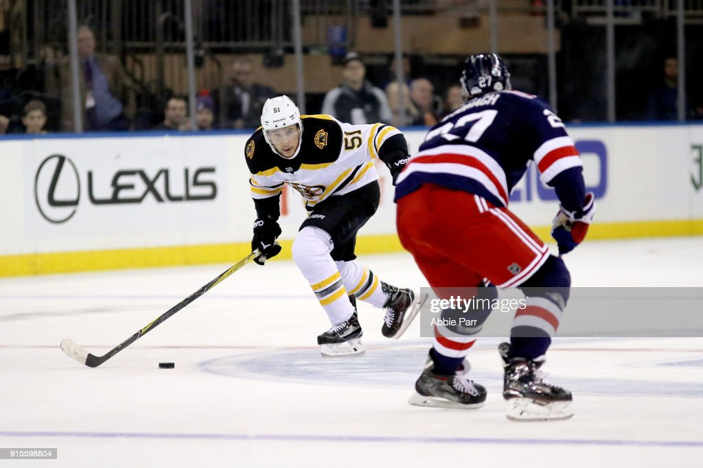 Ryan Spooner #51 of the Boston Bruins works against Ryan McDonagh #27 of the New York Rangers in the third period during their game at Madison Square Garden on February 7, 2018 in New York City.