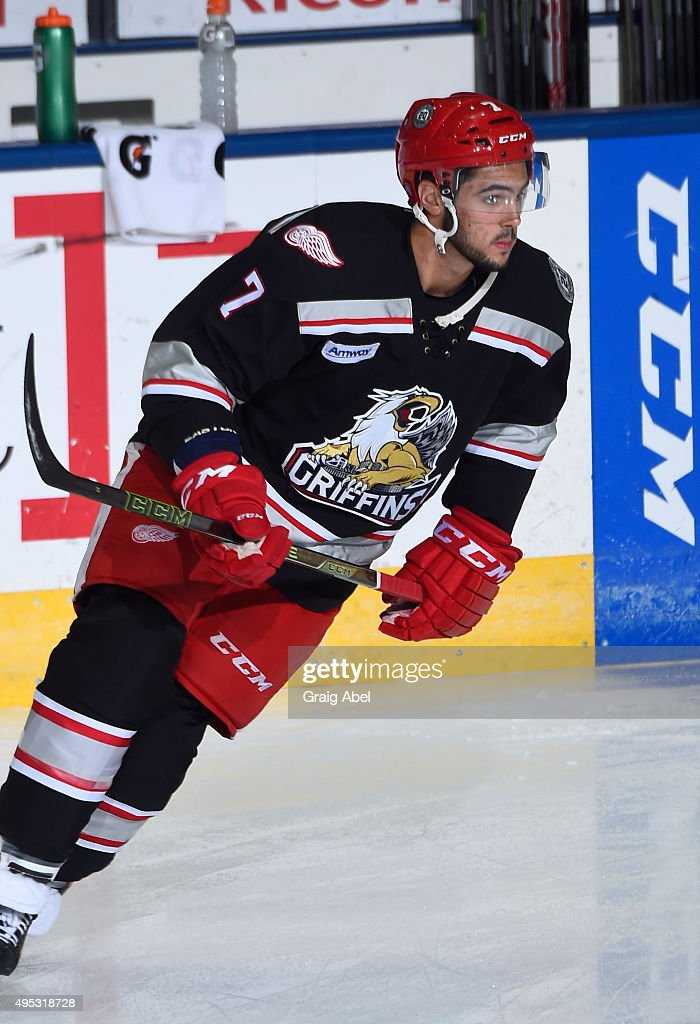 Ryan Sproul #7 of the Grand Rapids Griffins takes warmup prior to a game against the Toronto Marlies on October 30, 2015 at Ricoh Coliseum in Toronto, Ontario, Canada.