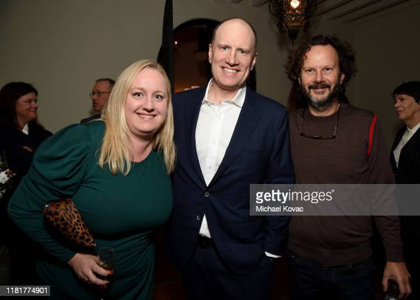 Ryan Stankevich, Kevin Feige, and Ram Bergman as the British Honour is awarded to Kathleen Kennedy for services to UK film production at The British...