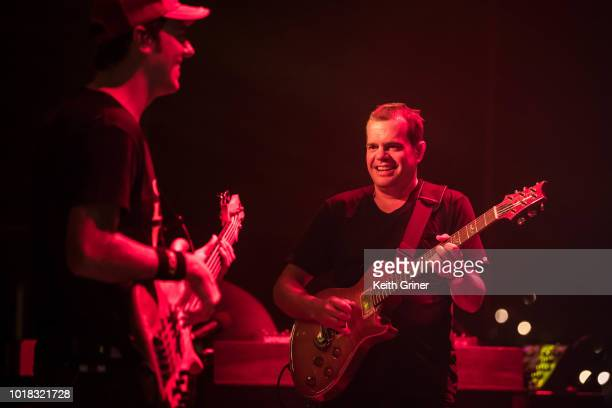 Ryan Stasik and Brendan Bayliss of Umphrey's McGee perform at The Lawn at White River State Park on August 11 2018 in Indianapolis Indiana