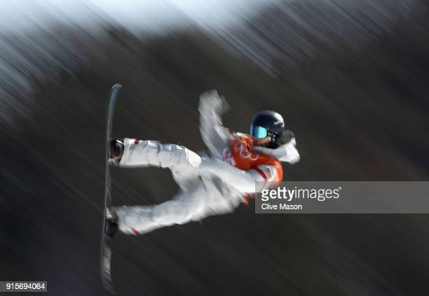Ryan Stassel of the USA in action during Slopestyle training ahead of the PyeongChang 2018 Winter Olympic Games at Phoenix Park on February 8 2018 in...