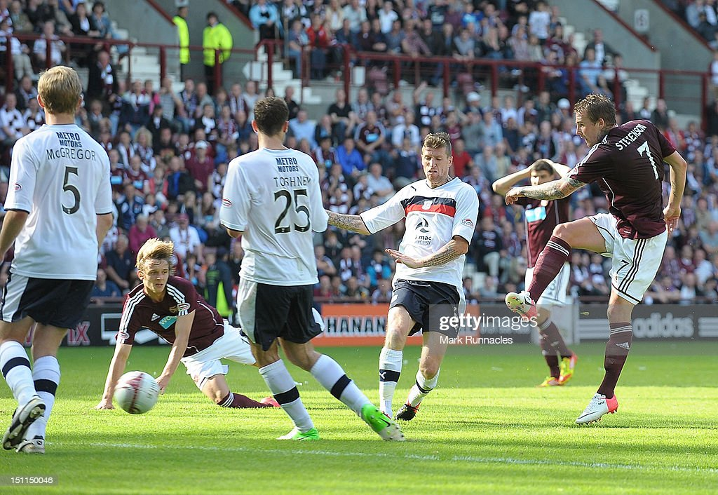 Ryan Stevenson of Hearts takes a snap shot during the Clydesdale Bank Scottish Premier League match between Hearts and Dundee at Tyncastle Stadium on September 2, 2012 in Edinburgh, Scotland.