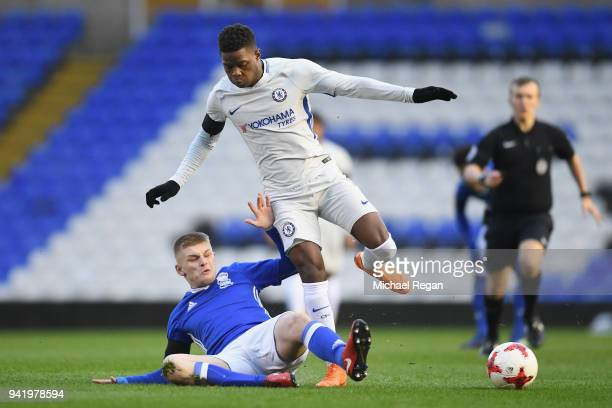 Ryan Stirk of Birmingham tackles Daishawn Redan of Chelsea during the FA Youth Cup SemiFinal First Leg between Birmingham City v Chelsea at St...