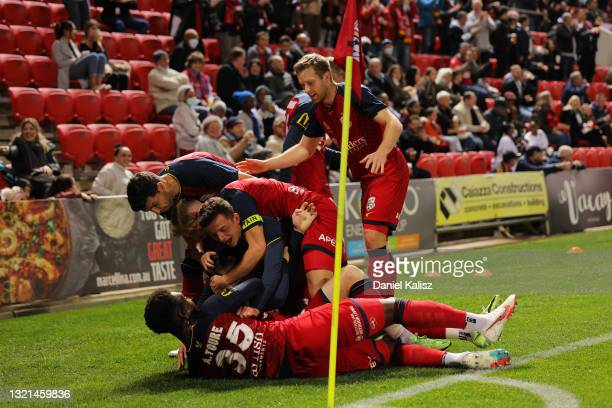 Ryan Strain of Adelaide United celebrates after kicking a goal during the A-League match between Adelaide United and Western Sydney Wanderers at...