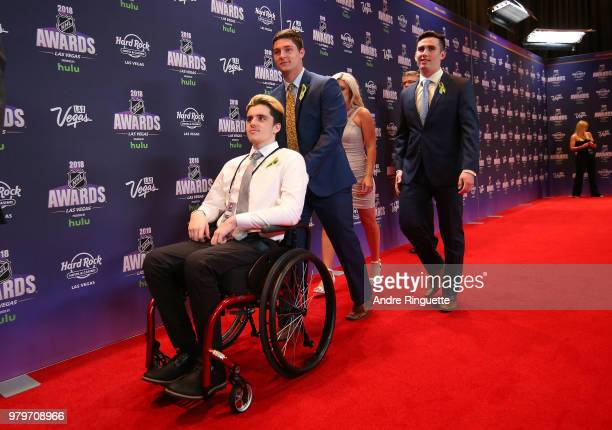 Ryan Straschnitzki and his Humboldt Broncos teammates arrive at the 2018 NHL Awards presented by Hulu at the Hard Rock Hotel Casino on June 20 2018...