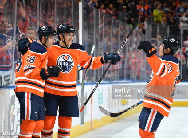 Ryan Strome Matthew Benning and Michael Cammalleri of the Edmonton Oilers celebrate after a goal during the game against the St Louis Blues on...