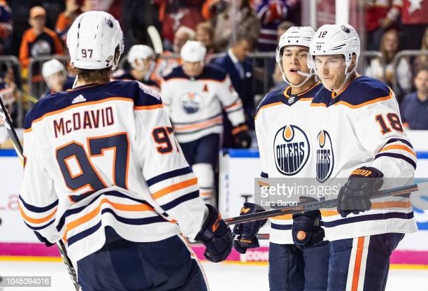 Ryan Strome of Edmonton celebrates with team mates after scoring the winning goal during the NHL Global Series Challenge game between Edmonton Oilers...