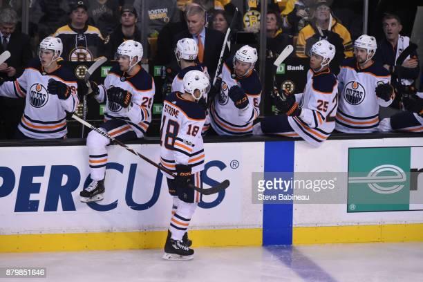 Ryan Strome of the Edmonton Oilers celebrates his third period goal against the Boston Bruins at the TD Garden on November 26, 2017 in Boston,...