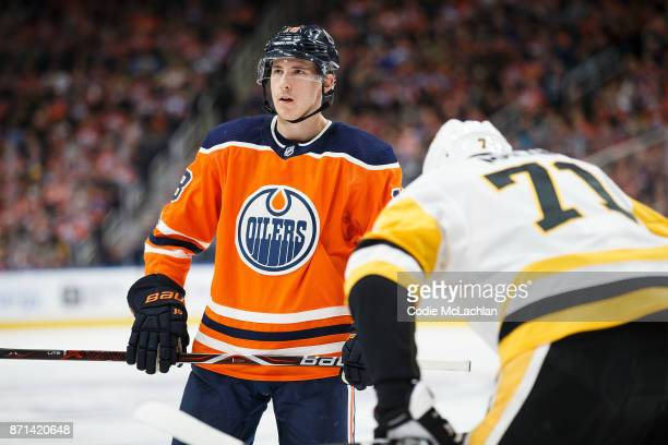 Ryan Strome of the Edmonton Oilers faces off against Evgeni Malkin of the Pittsburgh Penguins at Rogers Place on November 1 2017 in Edmonton Canada