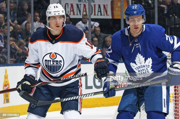 Ryan Strome of the Edmonton Oilers skates against Nikita Zaitsev of the Toronto Maple Leafs during an NHL game at the Air Canada Centre on December...