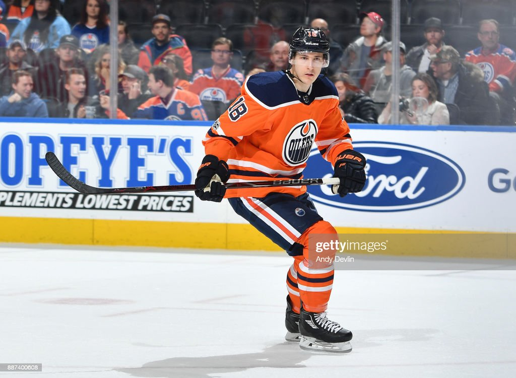 Ryan Strome #18 of the Edmonton Oilers skates during the game against the Philadelphia Flyers on December 6, 2017 at Rogers Place in Edmonton, Alberta, Canada.