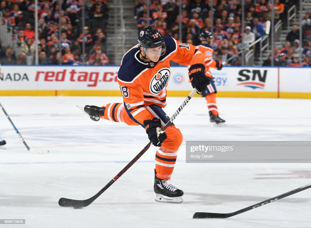 Ryan Strome #18 of the Edmonton Oilers takes a shot during the game against the Winnipeg Jets on October 9, 2017 at Rogers Place in Edmonton, Alberta, Canada.