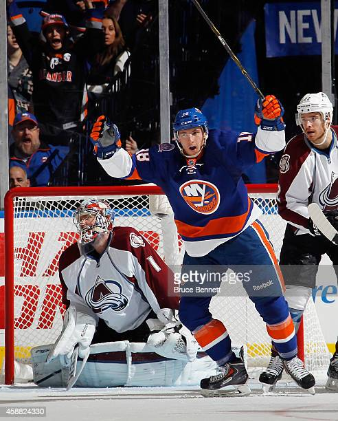 Ryan Strome of the New York Islanders celebrates his goal at 8:01 of the third period against Semyon Varlamov of the Colorado Avalanche at the Nassau...