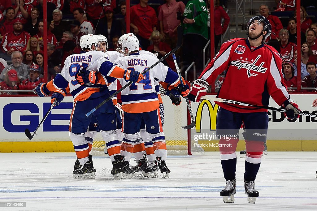 Ryan Strome #18 of the New York Islanders celebrates with his teammates after scoring a goal during the second period against Washington Capitals in Game Two of the Eastern Conference Quarterfinals during the 2015 NHL Stanley Cup Playoffs at Verizon Center on April 17, 2015 in Washington, DC.