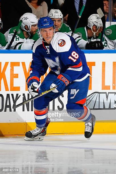 Ryan Strome of the New York Islanders skates against the Dallas Stars at Nassau Veterans Memorial Coliseum on October 25, 2014 in Uniondale, New...