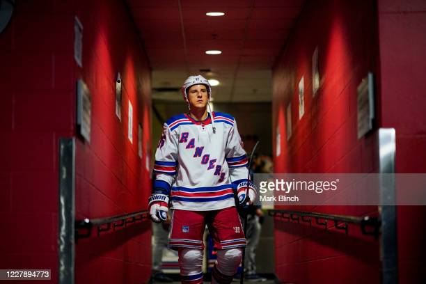 Ryan Strome of the New York Rangers leaves the dressing room before facing the Carolina Hurricanes in the third period in Game Two of the Eastern...