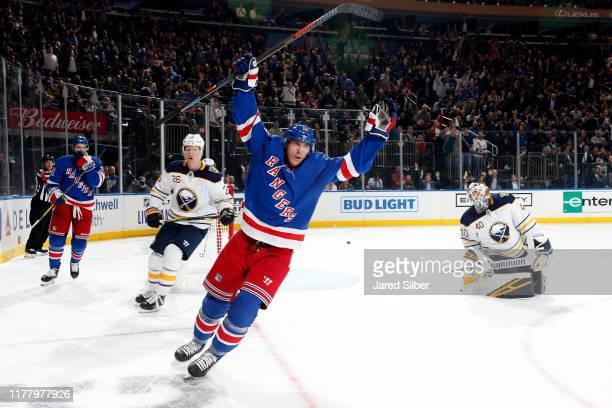 Ryan Strome of the New York Rangers reacts after scoring a goal in the third period against Carter Hutton of the Buffalo Sabres at Madison Square...