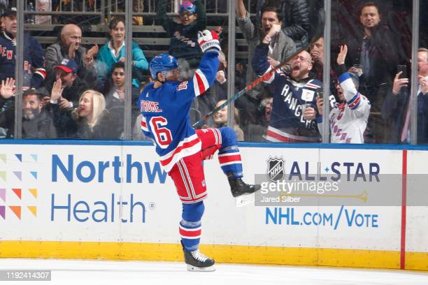 Ryan Strome of the New York Rangers reacts after scoring a goal in the second period against the Colorado Avalanche at Madison Square Garden on...