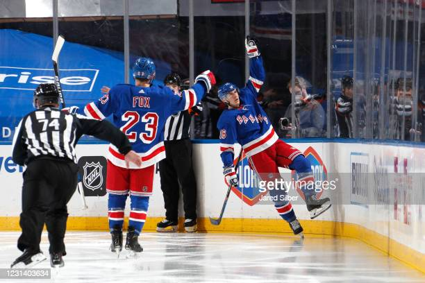 Ryan Strome of the New York Rangers reacts after scoring a goal in the second period against the Boston Bruins at Madison Square Garden on February...