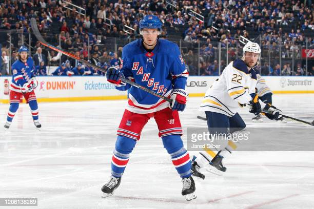 Ryan Strome of the New York Rangers skates against the Buffalo Sabres at Madison Square Garden on February 7, 2020 in New York City.