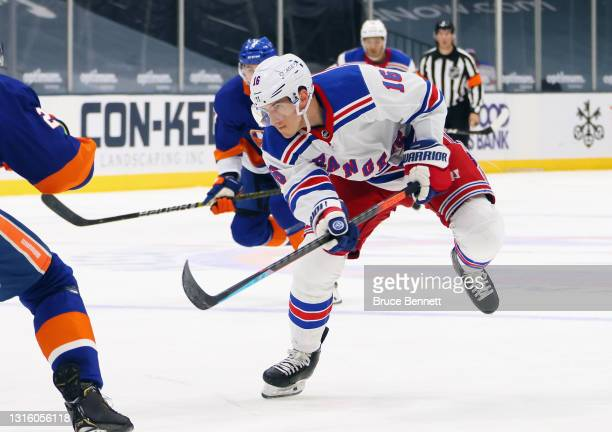 Ryan Strome of the New York Rangers skates against the New York Islanders at the Nassau Coliseum on May 01, 2021 in Uniondale, New York.