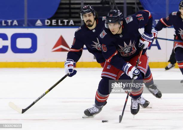 Ryan Strome of the New York Rangers skates against the Washington Capitals at Madison Square Garden on February 04, 2021 in New York City.
