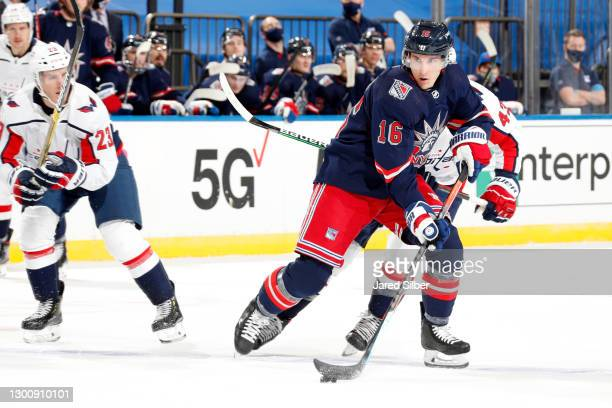 Ryan Strome of the New York Rangers skates with the puck against the Washington Capitals at Madison Square Garden on February 4, 2021 in New York...