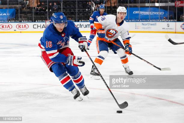 Ryan Strome of the New York Rangers skates with the puck against the New York Islanders at Madison Square Garden on April 29, 2021 in New York City.