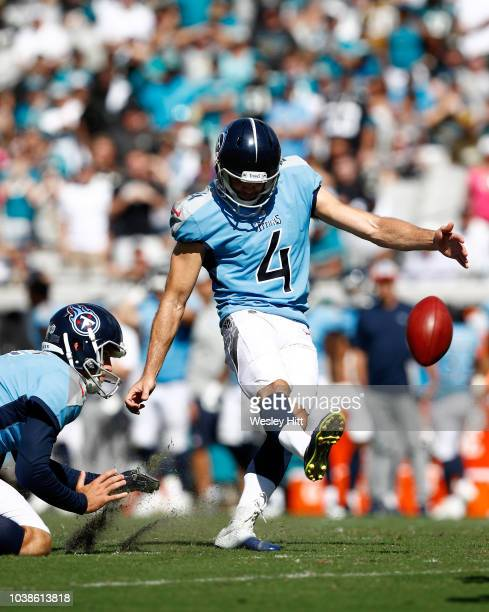 Ryan Succop of the Tennessee Titans kicks a 28 yard field goal in the fourth quarter during their game against the Jacksonville Jaguars at TIAA Bank...