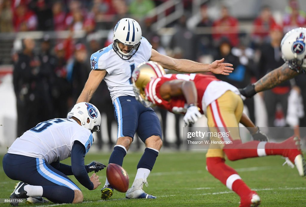Ryan Succop #4 of the Tennessee Titans kicks a field goal late in the fourth quarter against the San Francisco 49ers during their NFL football game at Levi's Stadium on December 17, 2017 in Santa Clara, California.