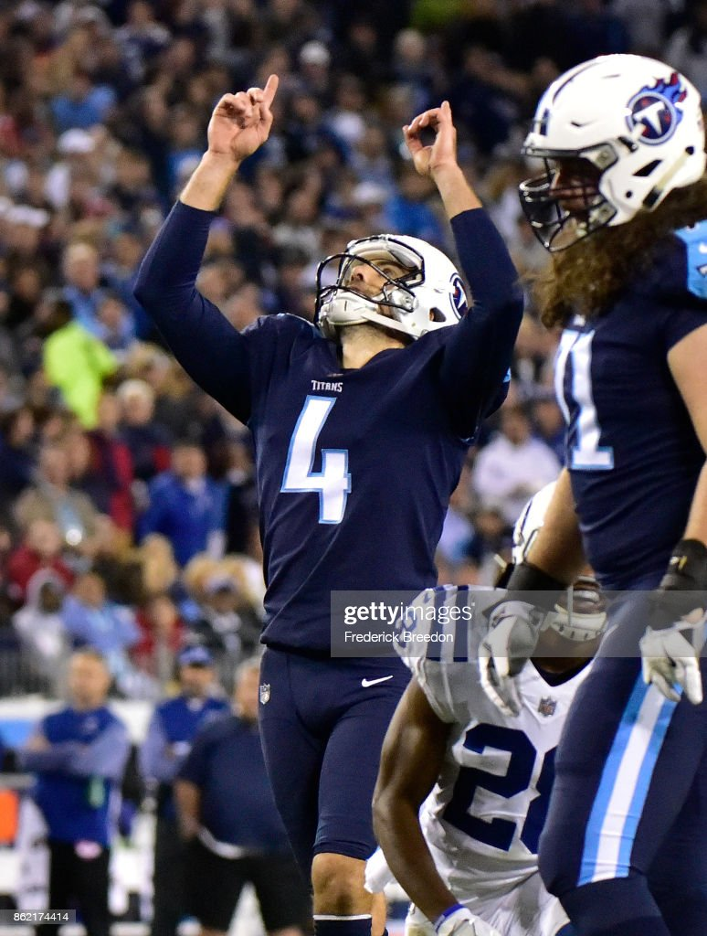 Ryan Succop #4 of the Tennessee Titans points to the sky after making a field goal against the Indianapolis Colts during the second half at Nissan Stadium on October 16, 2017 in Nashville, Tennessee.